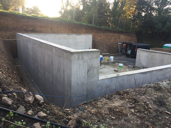 Structural Waterproofing house built in hillside